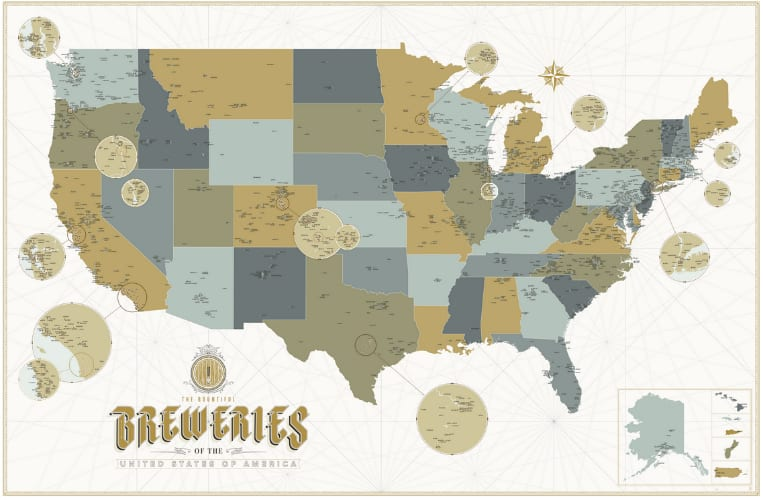 Calling all beer nerds this incredibly detailed craft brewery map with this master guide to craft breweries in the united states the bountiful breweries of the united states of america poster showcases gumiabroncs Gallery