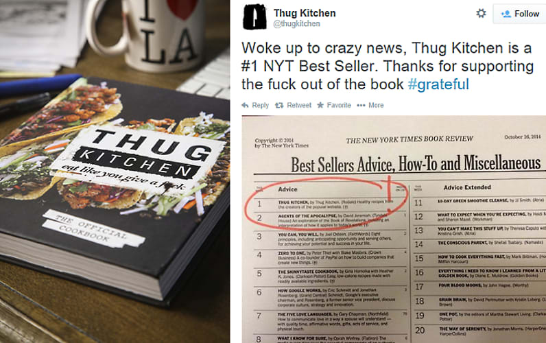 Hate It or Love It: The Thug Kitchen Cookbook Is a #1 NYT ...