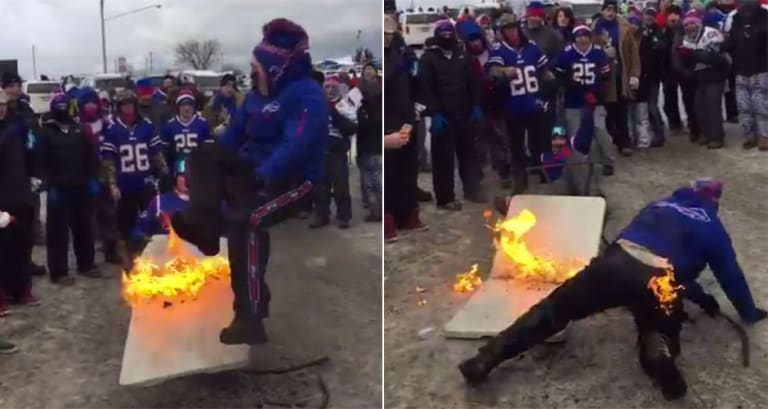 Hardcore Buffalo Bills Fans Extinguish a Man on Fire With Nothing
