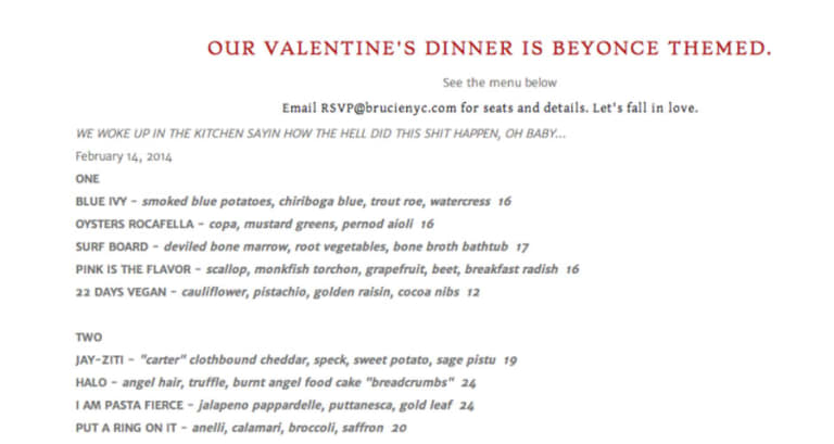 Brooklyn Restaurant S Beyonce Themed Valentines Day Menu Features