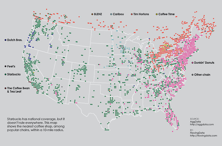 This Map Shows Where Every Coffee Chain Dominates in America ... Dutch Bros Locations Map on baskin-robbins location map, dunkin' donuts location map, carl's jr. location map, burger king location map, krispy kreme location map, baja fresh location map, cold stone creamery location map, el pollo loco location map, dairy queen location map, outback steakhouse location map, wendy's location map, jack in the box location map, del taco location map,