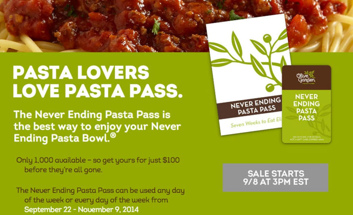 Game Changer Olive Garden Offers 7 Weeks Of Pasta For 100 First We Feast