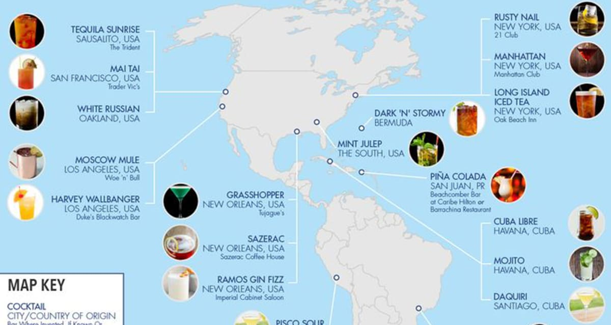 INFOGRAPHIC: The Birthplace of Famous Cocktails